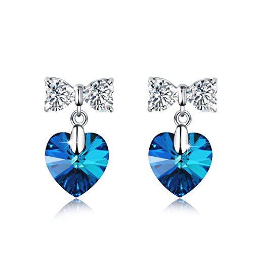 Meidiya 925 Sterling Silver with Swarovski Crystal Elements Blue Love Heart Stud Earrings/Pendant Necklace Jewelry Gifts for Girls Women (Heart & Butterfly ()