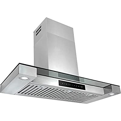 "Golden Vantage 36"" Stainless Steel Tempered Glass Wall Mount Touch Screen Display LED Light Kitchen Cooking Vent Range Hood"
