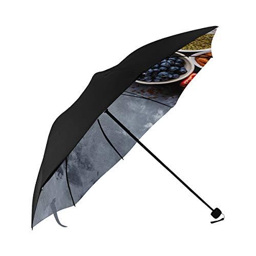Food Temptation Creative Photography Photos Compact Travel Umbrella Sun Parasol Anti Uv Foldable Umbrellas(underside Printing) As Best Present For Women Sun Uv Protection