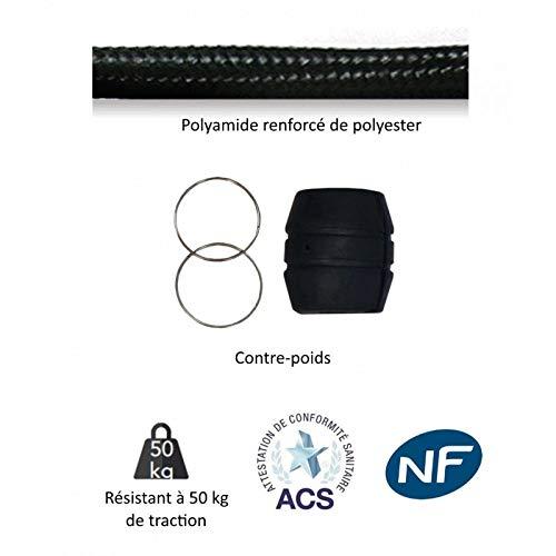 Disflex Flexible 1,5m pour douchette /évier de cuisine avec contrepoids en polyamide renforc/é noir qualit/é NF