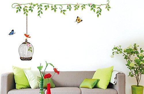UberLyfe Green Vine Birdcage Wall Sticker (Wall Covering Area: 72cm x 125cm)