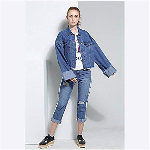 Elegante Bavero Breasted Giacche Cappotto Donna Corto Blau Confortevole Autunno Giovane Women Jeans Anteriori Outerwear Moda Tasche Manica Casual Lunga Giaccone Single qggt7n