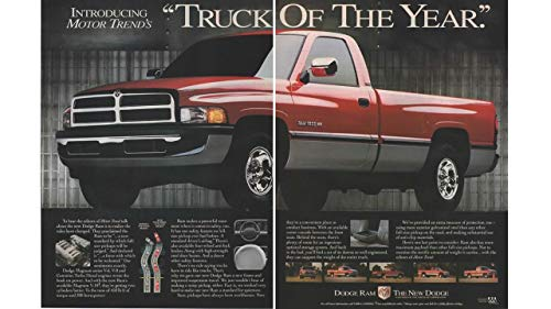 """Magazine Print Ad: 1992 Dodge Ram 1500 Pickup Truck, Introducing Motor Trend's""""Truck of the Year"""""""", 2 pages"""