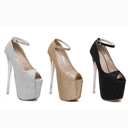 L@YC Frauen High Heels Crystal Transparent 19 Cm High-Heels Wasserdichte Tisch Tanzschuhe Black