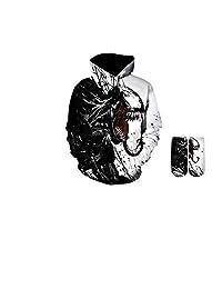YX GIRL Unisex 3D Printed Spiderman Venom Villain Skull Hoodie Funny Hoodies