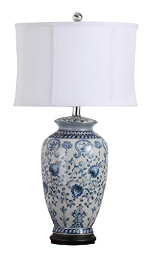 Safavieh Lighting Collection Paige Blue And White Jar 29-inch Table Lamp