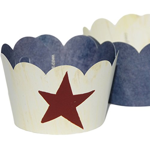 [Red Lone Star on Cream, Blue Denim Cupcake Wrappers, Cowboy Party Decorations, Confetti Couture Party Supplies, 36 Reversible Dessert] (Western Day Dress Up Ideas)