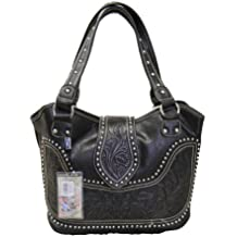 Montana West Concealed Gun Carry Purse Tooled Leather Handbag Western Style Purse