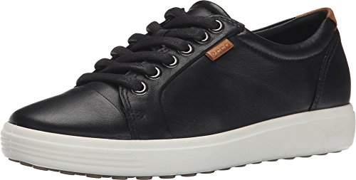 ECCO Footwear Womens Soft VII Fashion Sneaker, Black, 38 EU/7-7.5 M (Ecco Cap Toe Cap)