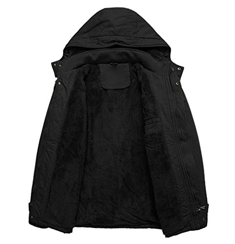 KEFITEVD Manteau de Pilote Militaire en Molleton Militaire à Capuche en Hiver pour Hommes avec Capuche