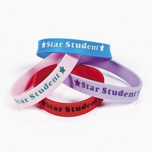 Star Student Rubber Bracelets - Pack of 24 by Fun Express