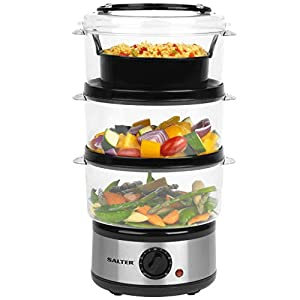 Salter EK2726 Healthy Cooking 3-Tier Food Rice Meat Vegetable Steamer | 7.5 L | 60 Minute Timer | 3 Year Guarantee…