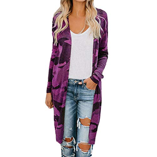 Aniywn Ladies Thin Long Cardigan Women Camouflage Printed Plus Size Long Sleeve Casual Open Front Coat (Best Flow Chart Creator)