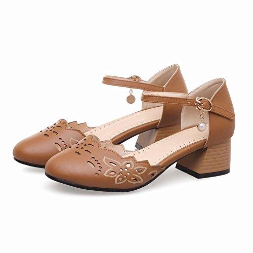 Carolbar Femme Boucle Rétro Doux Mi-talon Mary Janes Chaussures Sandales Jaune-marron
