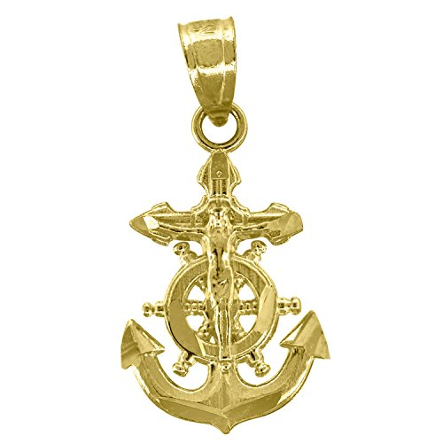 Jawa Jewelers 14kt Gold Unisex DC Anchor Crucifix Cross Religious Pendant Charm