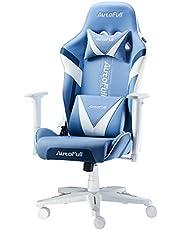 AutoFull Gamingstoel, computerstoel, kunstleer, bureaustoel, hoogteverstelling, kantelbaar, ergonomisch design, met hoofdsteun en ledenkussens