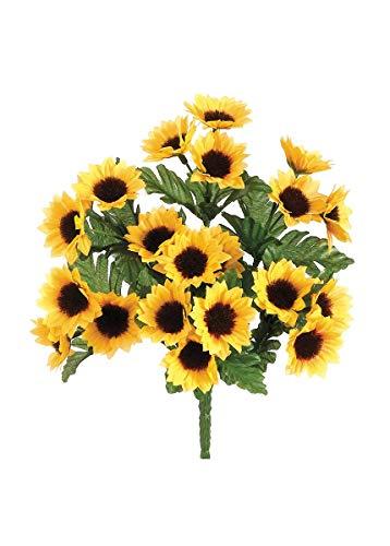 Allstate Mini Silk Sunflower Bush in Yellow Gold - 10.25