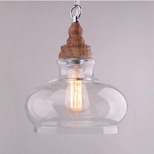 Hines Lámpara colgante de cristal de la vendimia industrial Lámpara colgante de madera maciza Iluminación de celosía con...