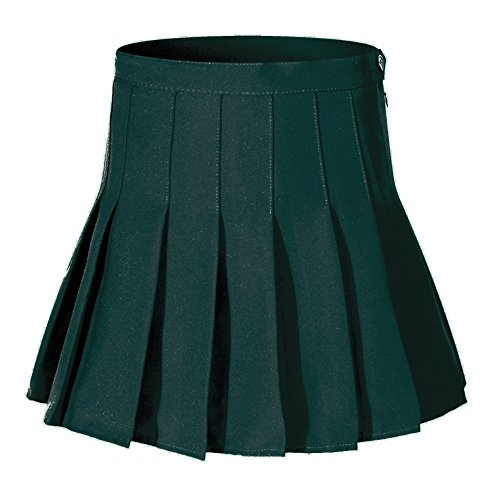 Women's High Waist Pleated A-Lines Short Sexy Green Skirt skirts ( M, Green ) (3 Pleat Cheer Skirt)