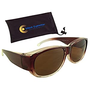 Womens Ombre Fit Over Sunglasses by Ideal Eyewear - Wear Over Prescription Glasses - Over Eyeglasses - Polarized Lenses - Light and Comfortable - Case Included (Brown with case, Polarized)