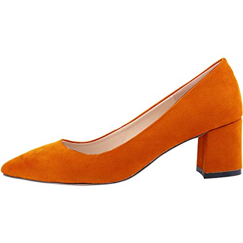 Suédé Hauteur Talon Chic Carré Haut Chaussure 35 6 Bloc Bout Escarpins Femme Orange 42 A Stiletto Cm Daim Pointu Wealsex Elégant AqSwO7