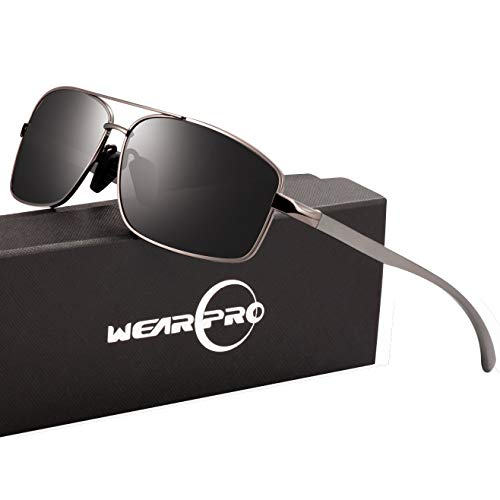 14376847b5e Sport Polarized Sunglasses For Men-wearPro Ultralight Rectangular Sunglasses  Driving Fishing 100% UV Protection