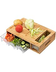 """PARANTA Bamboo Cutting Board With 4 Containers, Drawers For Storing And Transporting, Natural(15.8"""" 10"""" 4"""")"""