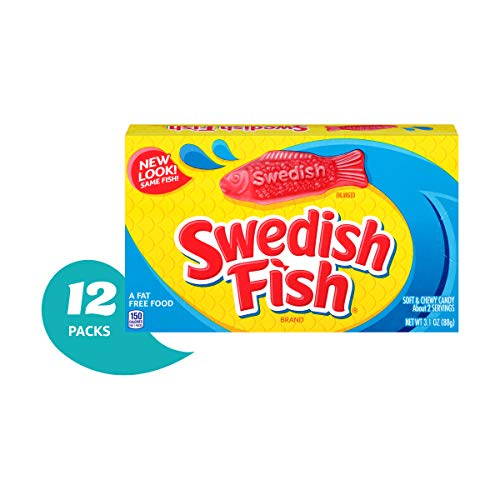 - Swedish Fish Gummy Candy, Original, Theater Size Boxes, 3.1 oz (Pack of 12)