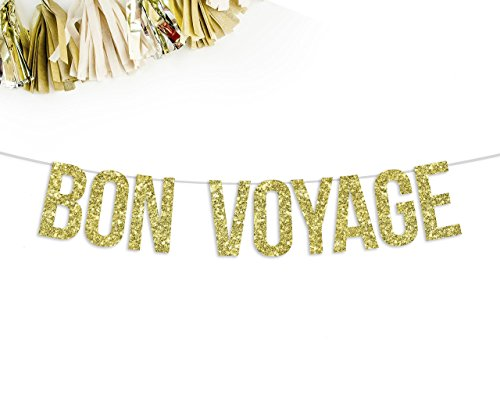 Bon Voyage Gold Glitter Party Banner || nautical boat theme ()