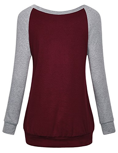 Cestyle Casual Sweaters for Women, Fall Long Sleeve Round Neck Splice Shirts Sports Loose Fit Cotton Knitted Cute Tunic Sweatshirts Loft Clothing Wine X-Large by Cestyle (Image #1)