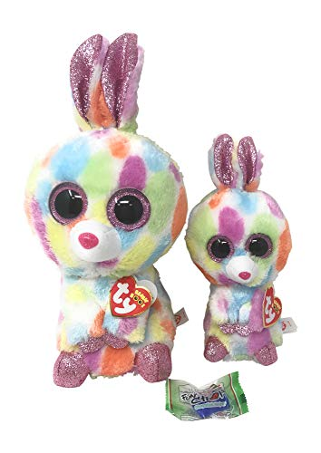 TY Beanie Boos Bundle of 2, Includes Bloomy The Bunny (Regular), Bloomy The Bunny (Medium), and a Fun Chop Chopstick Holder