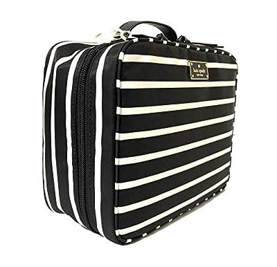 Kate Spade New York Wilson Road French Stripe Travel Cosmetic Case Bag (Black Multi)