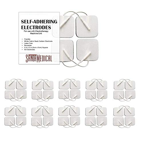 TENS Unit Replacement Pads 2x2 40 Pcs Premium Reusable Electrode Pads - Self Adhesive Electro Therapy Patches for Electrical Stimulation - Non Irritating Stim Pads Design