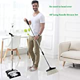 "FreedomDesign 48"" Long Handle Broom Set, Dustpan Cleans Broom Combo with Long Handle for Home Kitchen Room Office Lobby Floor Use Upright Stand up Dustpan Broom Set,No Need to Bend Over"