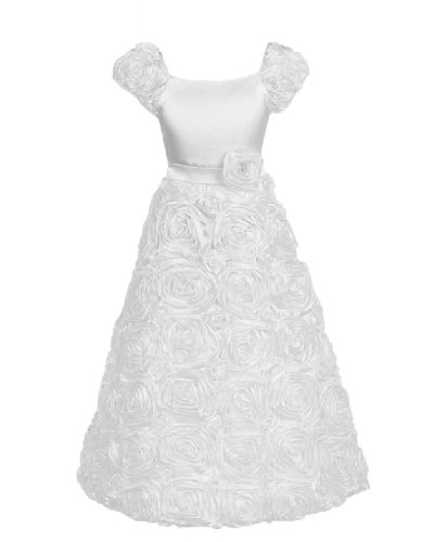 Calla Collection Little Girls' Ribbon Embroidered Rose Flower Dress 6 White D702