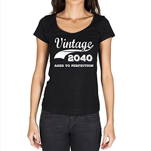 Vintage Aged to Perfection 2040, regalo cumpleaños mujer, camisetas mujer cumpleaños, vendimia añejado a la perfección camiseta mujer, camiseta regalo, regalo mujer negro