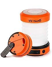 ThorFire Campinglamp LED Opvouwbare Lantaarn, Dynamo Draagbare Zaklamp, Oplaadbaar Door Crank en USB, Campinglicht voor Vissen Outdoor Camping, Oranje