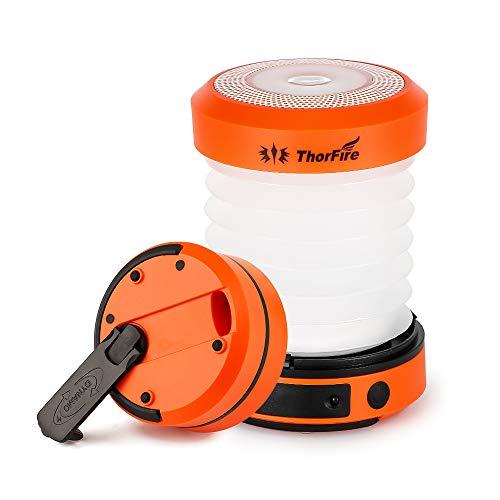 ThorFire Campinglamp LED Opvouwbare Lantaarn, Dynamo Draagbare Zaklamp, Oplaadbaar Door Crank en USB, Campinglicht voor…