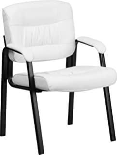 flash furniture white leather executive side reception chair with black frame finish