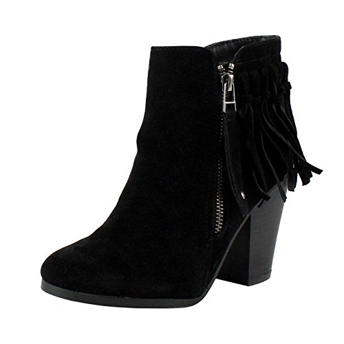 Breckelle's Gail-26 Women's Belted Chunky Stacked Heel Ankle Booties Black 8.5 (Fringe Ankle Boot)