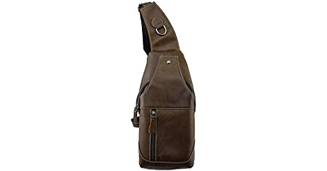 1d7b9f6763 CMXSEVENDAY NOB019 Small Mens Sling Backpack Leather Sling Bag with  Multiple Pockets