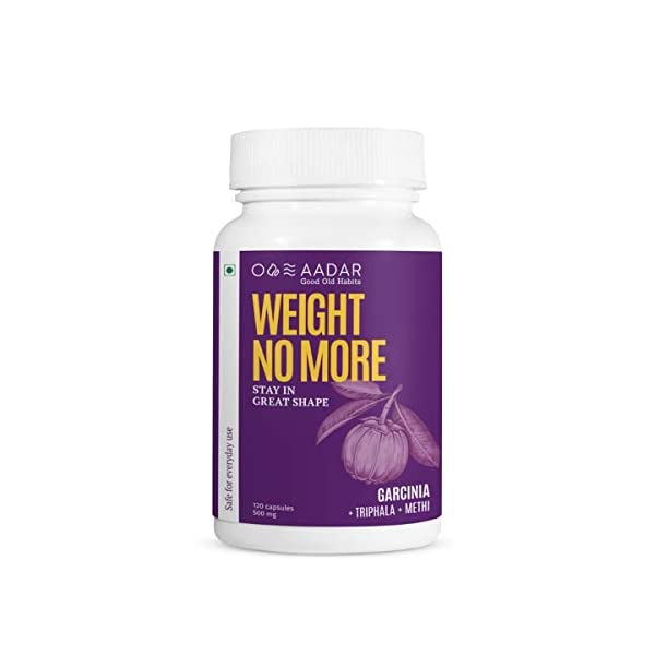 AADAR WEIGHT NO MORE | Natural Weight Loss Supplement | 120 Capsules | Belly Fat Burner for Men and Women 2021 July GARCINIA + TRIPHALA + GREEN TEA: The unique blend of these herbal ingredients boost metabolism naturally which in turn helps burn fat faster, thus helping you achieve your weight loss goal faster. CONTROLS APPETITE WITH FENUGREEK: Methi (or Fenugreek) seeds are rich in multi-vitamins and digestive minerals. They keep you satiated after a good meal which then reduces your calorie intake, making your body use the excess stored fat, for calorie burning. FSSAI APPROVED AND NON-GMO: So that you are sure of the purity, quality and authenticity of what you put in your mouth. So, your mind can focus to lose weight, and not worrying about anything else. ★ NON-GMO ★ Tested for Heavy Metals ★ Made in India ★ No chemicals ★ No preservatives ★ Approved by Food Safety and Standards Authority of India (FSSAI).