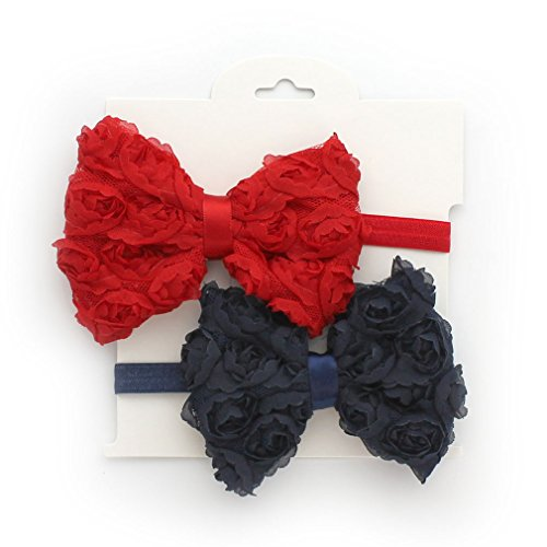 My Lello 2 Pack Infant Baby Mixed Colors Fabric Rose Bow Headbands