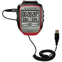 Coiled Power Hot Sync USB Cable for the Garmin Forerunner 305 with both data and charge features - Uses Gomadic TipExchange Technology