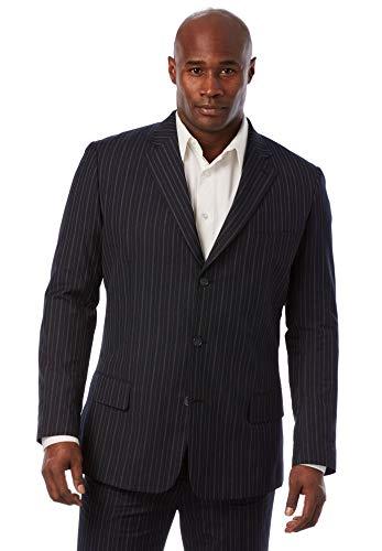 KS Signature Men's Big & Tall Easy Movement Three-Button Jacket, Navy Pinstripe Big-52