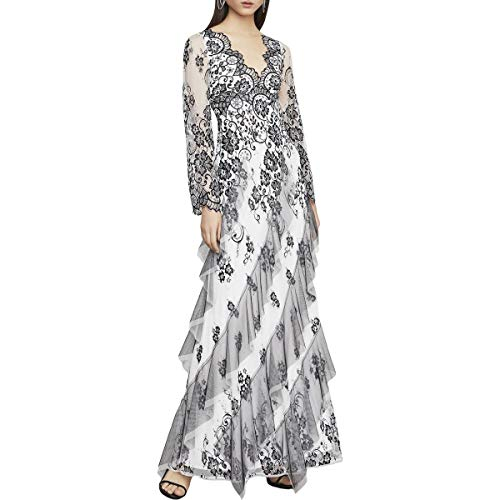 BCBG Max Azria Womens Lace Floral Evening Dress B/W 0