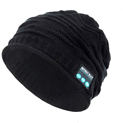 Repokevin Bluetooth Beanie Music Hat Winter Knit Hat Cap Wireless Headphone Musical Speaker Beanie Hat as Christmas Birthday Gifts for Men Women Teen Girls Boys, Built-in Mic (bl-Black)