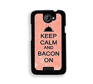 Keep Calm And Bacon On - Purple - Protective Designer BLACK Case - Fits HTC One X / One X+