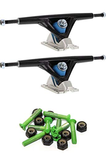 Seismic Skate Systems 180mm Aeon 45 Degrees Hollow Black/Polished Skateboard Reverse Kingpin Trucks with 1
