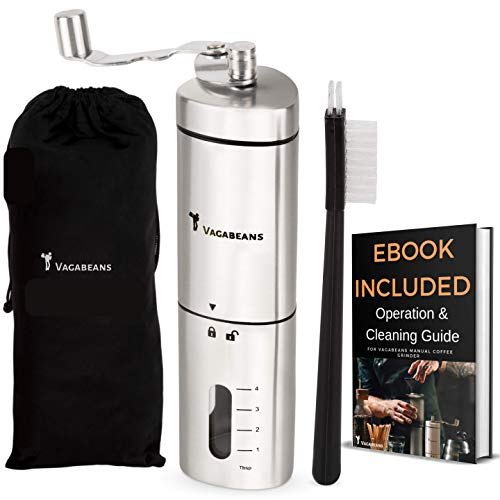 Vagabeans ® Manual Coffee Grinder – Hand Coffee Grinder – Easier to Grasp Shape for Easier Grinding – Adjustable Conical…